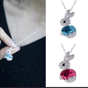 Cute Crystal Red (Pink) Or Blue Bunny Necklace